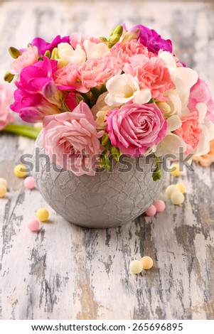 Beautiful fresh spring flowers pot on stock photo edit now beautiful fresh spring flowers in pot on wooden table closeup mightylinksfo