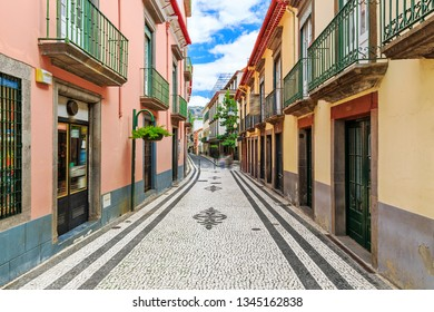 Beautiful fresh vibrant cityscape view of the authentic streets of Funchal, Madeira