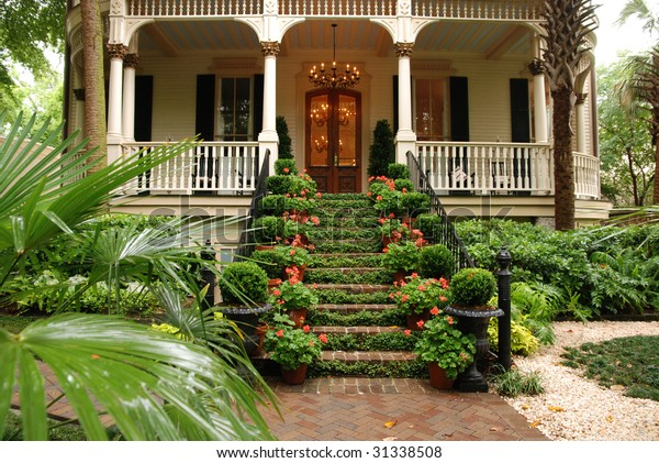Beautiful Front Stairs Yard Historic Colonial Stock Photo Edit