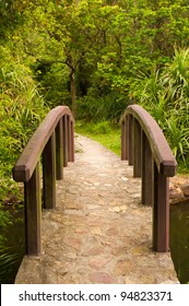 a beautiful front view of a peaceful little rock bridge and a path towards a forest