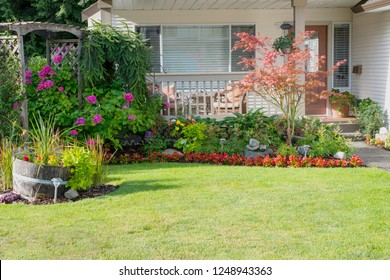 Beautiful front yard garden residence in full bloom.