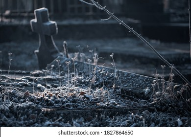 Beautiful frozen grass on cold autumn fall morning in cemetery graveyard with old stone tombstone grave cross monument as All Saints Day, All Souls Day background