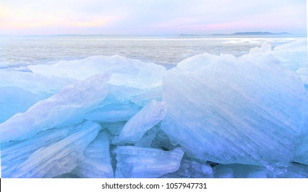 Beautiful frozen lake - Hungary, Balaton lake