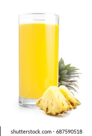 Beautiful fruit drink glass of pineapple juice and slices pineapple isolated on white background