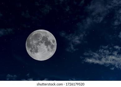 Beautiful full moon in the night sky.