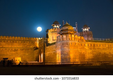 Beautiful Full Moon at Red Fort (Lal Quila) in Delhi , India
