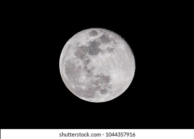 A beautiful full moons glows in the night sky.