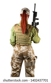 Beautiful fully equipped military soldier woman in protective armor tactical vest and camouflage pants holding an automatic rifle M16, back view, isolated photo.