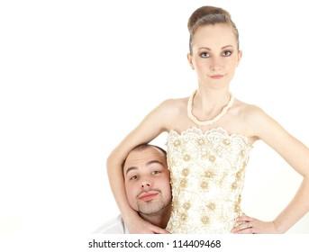 Beautiful funny wedding couple over white background