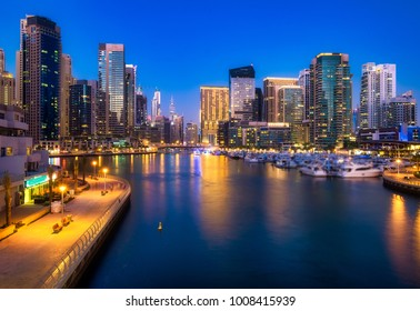 Beautiful futuristic view of Dubai Marina skyline at night