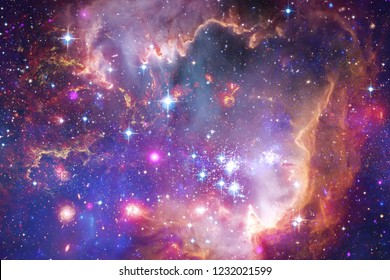 Beautiful galaxy and cluster of stars in the space night. Elements of this image furnished by NASA.