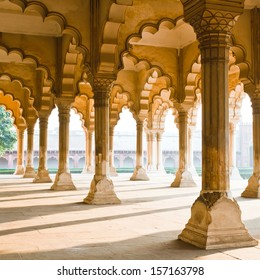 Beautiful gallery of pillars at Agra Fort. Agra, Uttar Pradesh, India