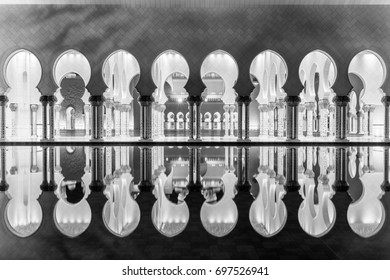 Beautiful gallery of Sheikh Zayed White Mosque in Abu Dhabi, UAE. with reflections in black and white