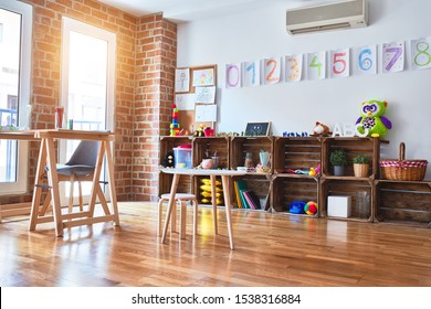 Beautiful games corner and desk at kindergarten