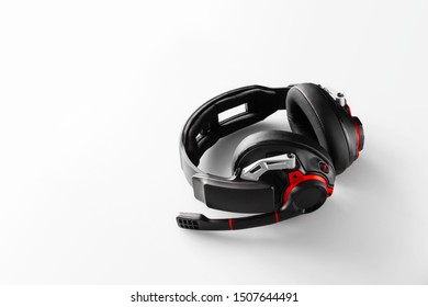 beautiful gaming headphones on background