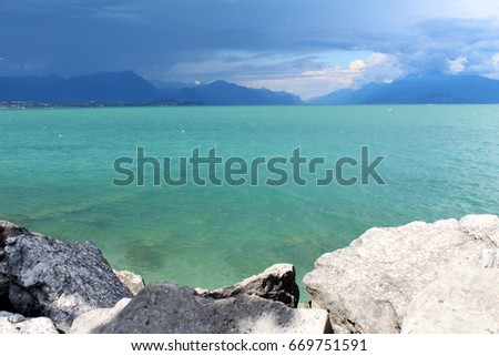 6b7a9ca6d Beautiful Garda Lake Before Rain Lago Stock Photo (Edit Now ...