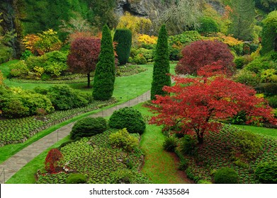 Beautiful garden in autumn, victoria, british columbia, canada