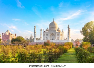 Beautiful garden by the Taj Mahal, famous place of visit, India, Agra