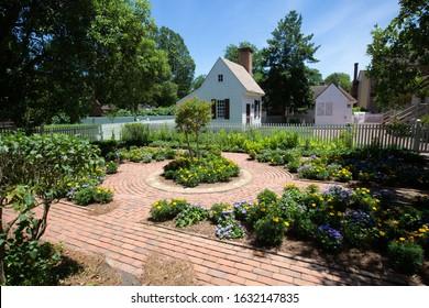 A beautiful garden in Colonial Williamsburg.