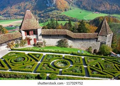 Beautiful garden in the famous Gruyere castle, Switzerland