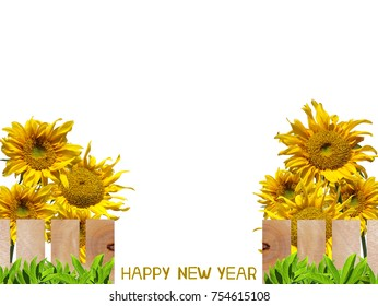 Beautiful garden fence with sunflower letter arrange in the words Happy New Year, clipping path included.