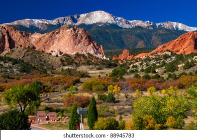 Beautiful Garden of the Gods Park with Pikes Peak soaring in the background, taken from the Garden of the Gods Visitor Center.