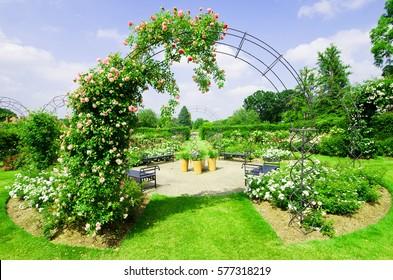 Beautiful Garden Landscape In Spring.