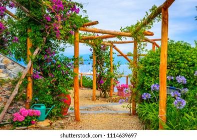 Beautiful garden near castle Brown in Portofino,  Liguria, Italy