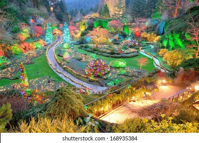 Beautiful garden night scene in Christmas at the canadian national historical site butchart gardens, victoria, british columbia, canada
