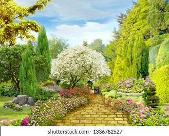 Beautiful garden. Garden path in flower beds. Digital fresco