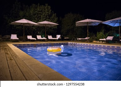 Beautiful garden with swimming pool and loungers