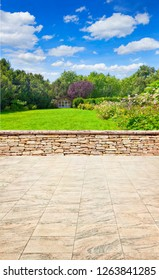 Beautiful garden terrace with marble floor.