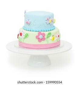 A beautiful garden themed children's birthday cake