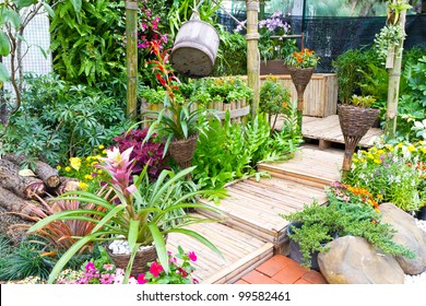 beautiful garden with wooden stair - home decoration