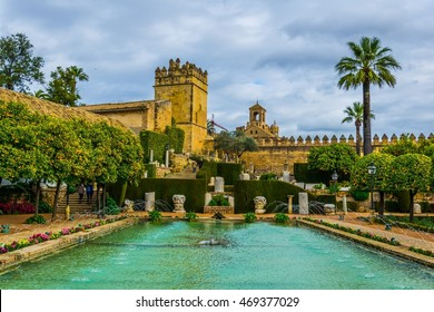 beautiful gardens of the alcazar de los reyes cristianos - royal palace of the cristian kings in the spanish city cordoba
