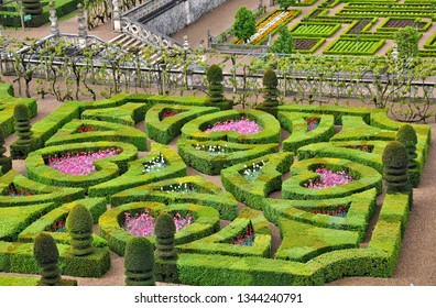 """Beautiful gardens of Chateau de Villandry. Loire Valley. France. The Chateau is designated a """"Monument historique"""" and one of the most visited chateaux in France. Photo taken 2014-04-28."""