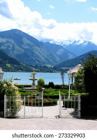 Beautiful gate in Zell am See, view al Zeller See - Lake Zell in Austria