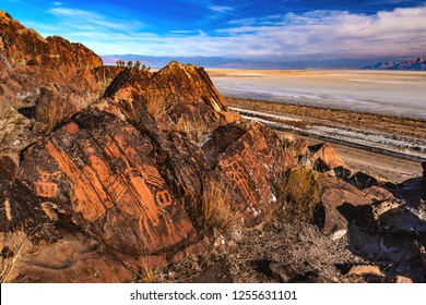 A beautiful gathering of prehistoric petroglyphs on Stansbury Island, just west of Salt Lake City, Utah, USA.  Often classified as Fremont, this rock art was most likely done by Desert Archaic people.