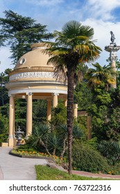 beautiful gazebo for relaxing among the palm trees in the Park of the city of Sochi