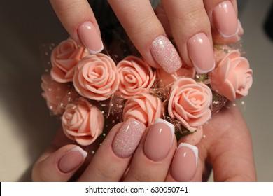 Beautiful gentle French manicure