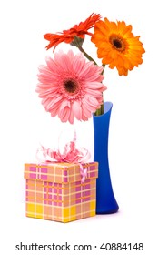 Beautiful gerber flowers in blue vase on white background