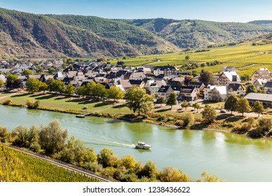 Beautiful german wine village on the river of Mosel