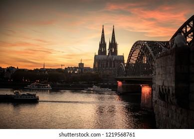 Beautiful Germany Köln city sunset evening ships cruise on the river  11.02.2018