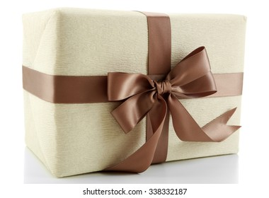 Beautiful gift with bow isolated on white