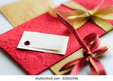 Beautiful gift with free space in red and gold color