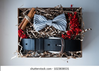 Beautiful gifts, a belt and a bow tie / craft gifts and bright filling, gift sets