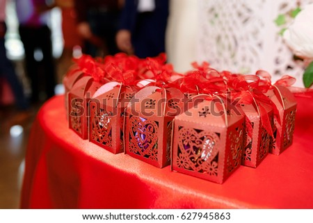 Beautiful Gifts Guests Wedding On Table Stock Photo Edit Now