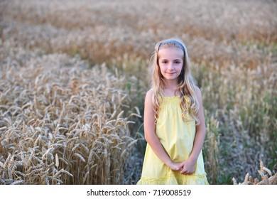 beautiful girl among wheat ears
