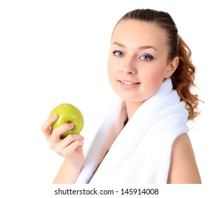 A beautiful girl with an apple, white background