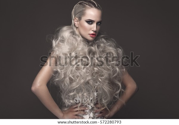 Beautiful Girl Art Dress Avantgarde Hairstyles Stock Photo (Edit Now ...